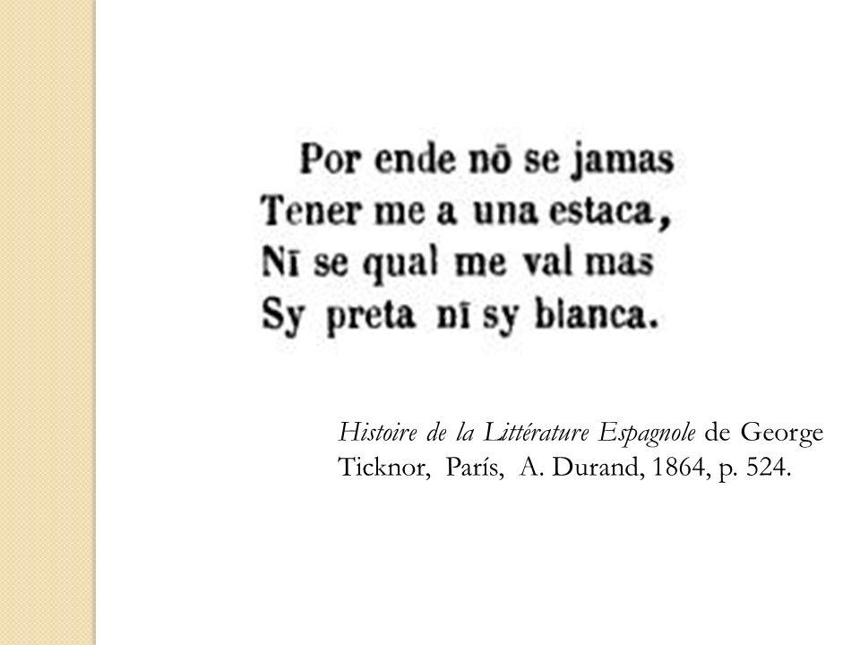 Histoire de la Littérature Espagnole de George Ticknor, París, A