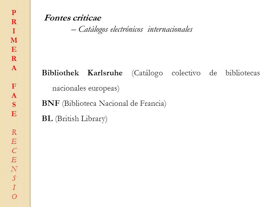 – Catálogos electrónicos internacionales