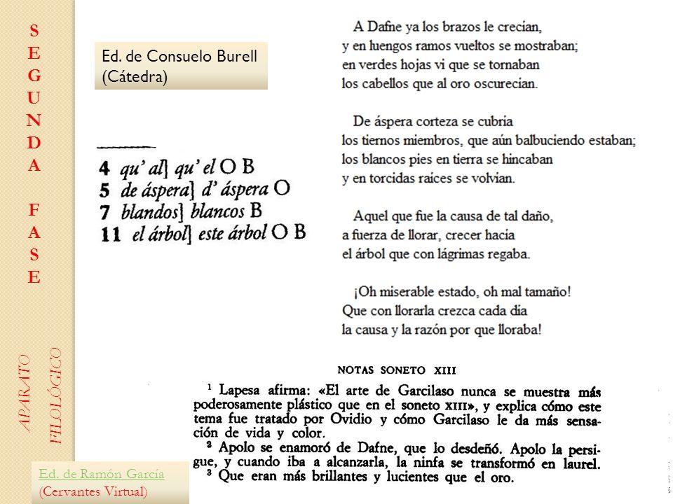 S E G U N D A F Ed. de Consuelo Burell (Cátedra) FILOLÓGICO APARATO