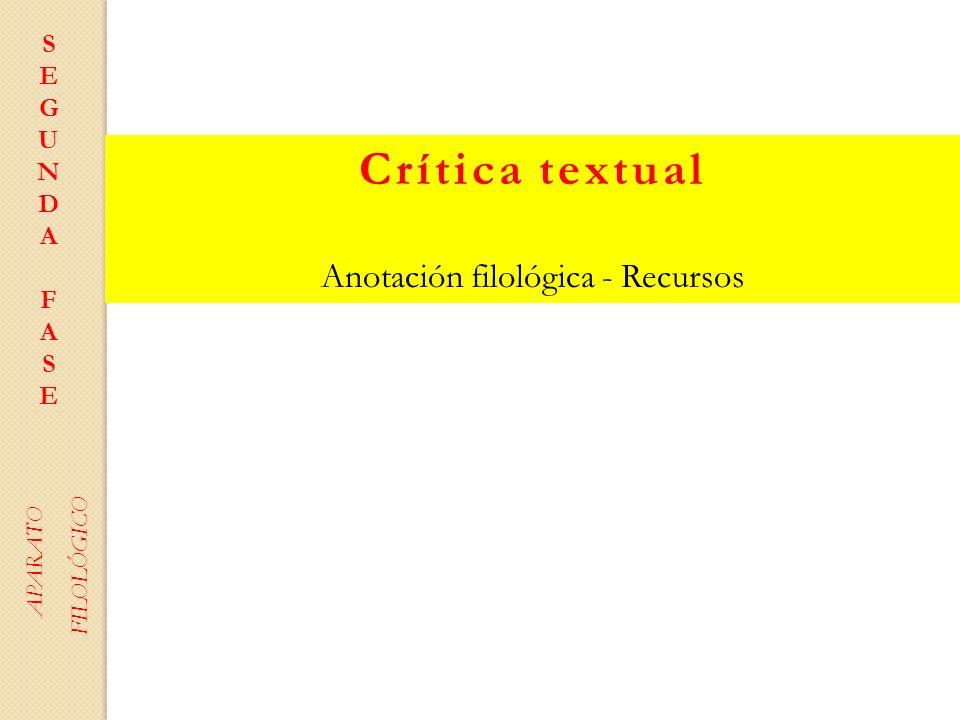 Anotación filológica - Recursos