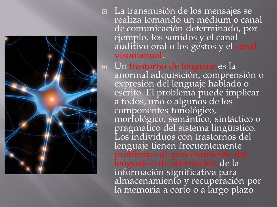 La transmisión de los mensajes se realiza tomando un médium o canal de comunicación determinado, por ejemplo, los sonidos y el canal auditivo oral o los gestos y el canal visomanual.