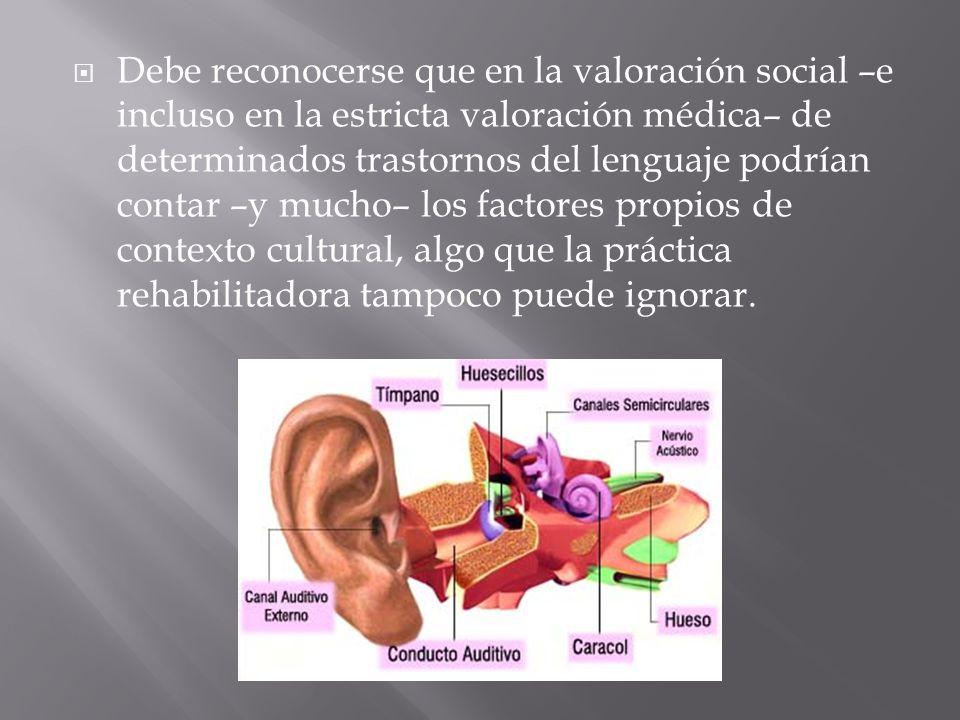 Debe reconocerse que en la valoración social –e incluso en la estricta valoración médica– de determinados trastornos del lenguaje podrían contar –y mucho– los factores propios de contexto cultural, algo que la práctica rehabilitadora tampoco puede ignorar.