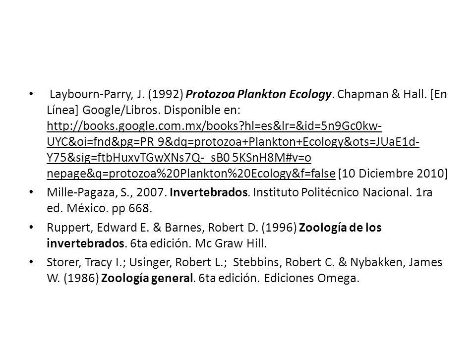 Laybourn-Parry, J. (1992) Protozoa Plankton Ecology. Chapman & Hall