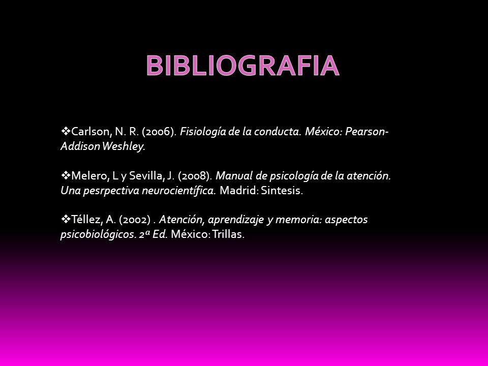BIBLIOGRAFIA Carlson, N. R. (2006). Fisiología de la conducta. México: Pearson-Addison Weshley.