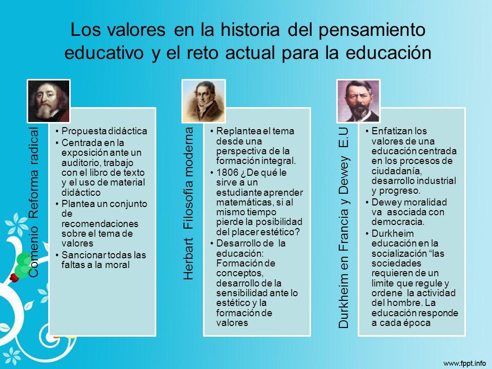 Los valores en la historia del pensamiento educativo y el reto actual para la educación