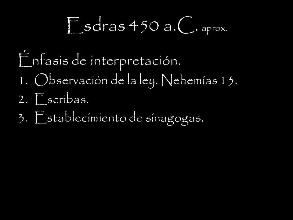 Esdras 450 a.C. aprox. Énfasis de interpretación.