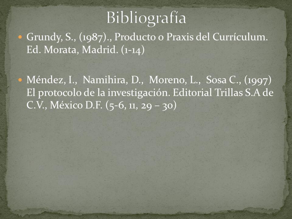 Bibliografía Grundy, S., (1987)., Producto o Praxis del Currículum. Ed. Morata, Madrid. (1-14)