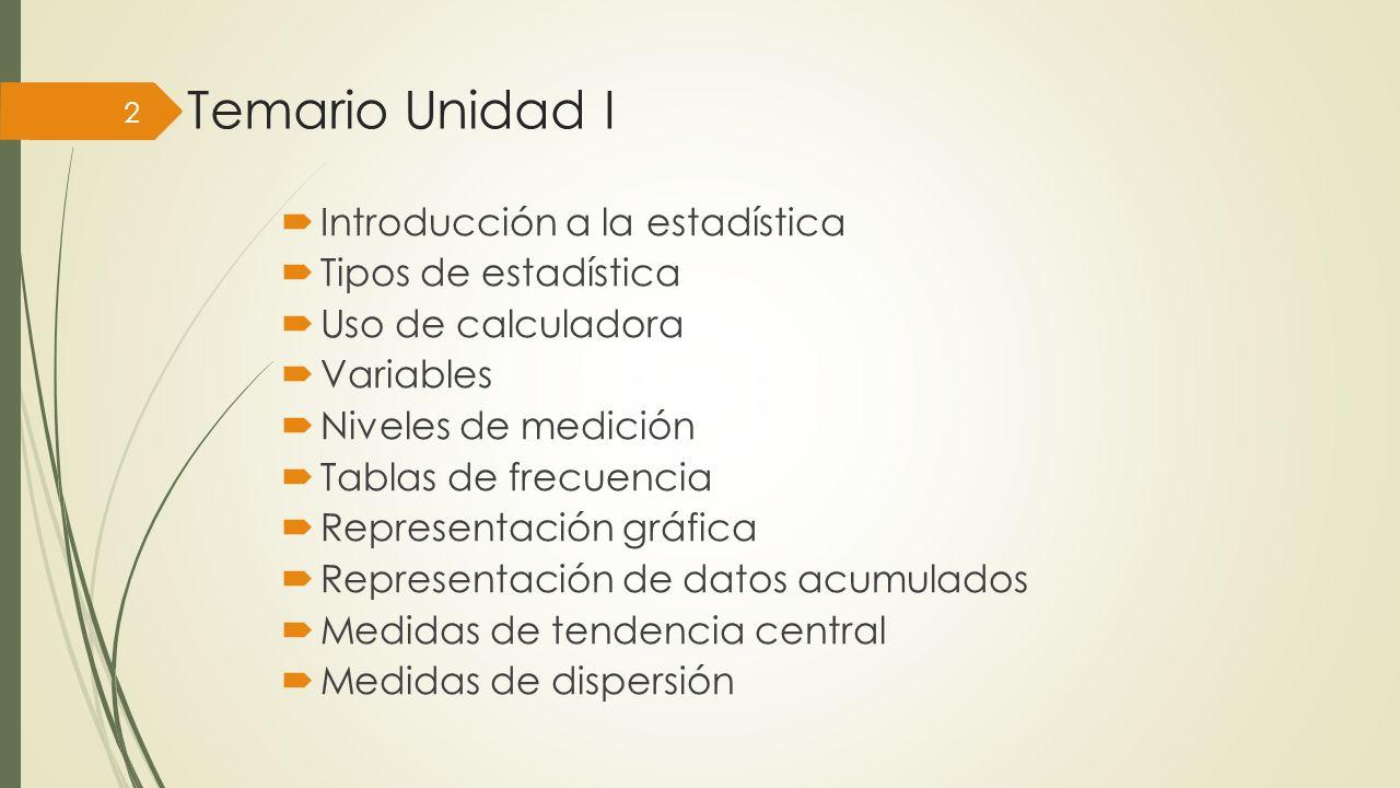 Temario Unidad I Introducción a la estadística Tipos de estadística