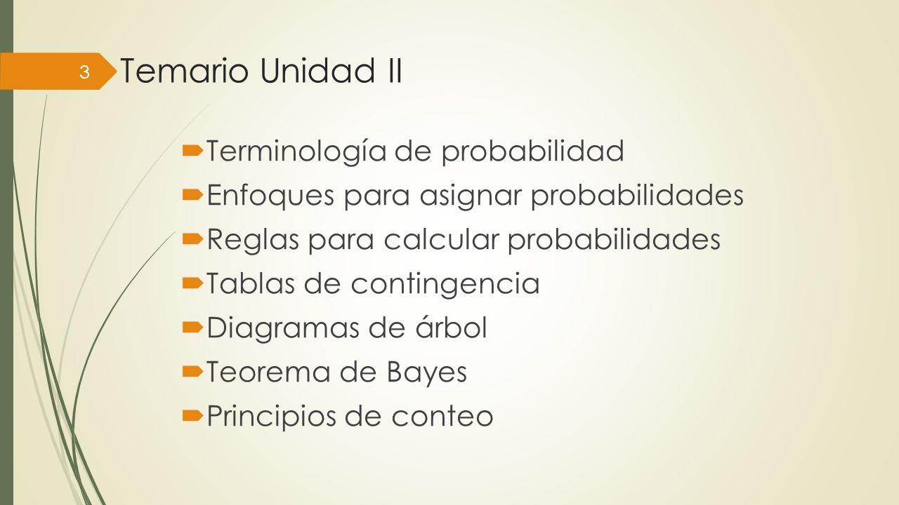 Temario Unidad II Terminología de probabilidad