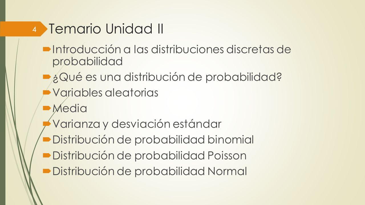 Temario Unidad II Introducción a las distribuciones discretas de probabilidad. ¿Qué es una distribución de probabilidad