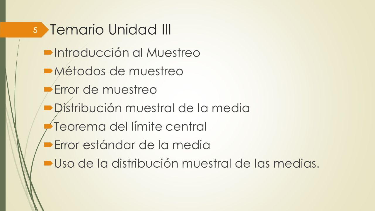 Temario Unidad III Introducción al Muestreo Métodos de muestreo