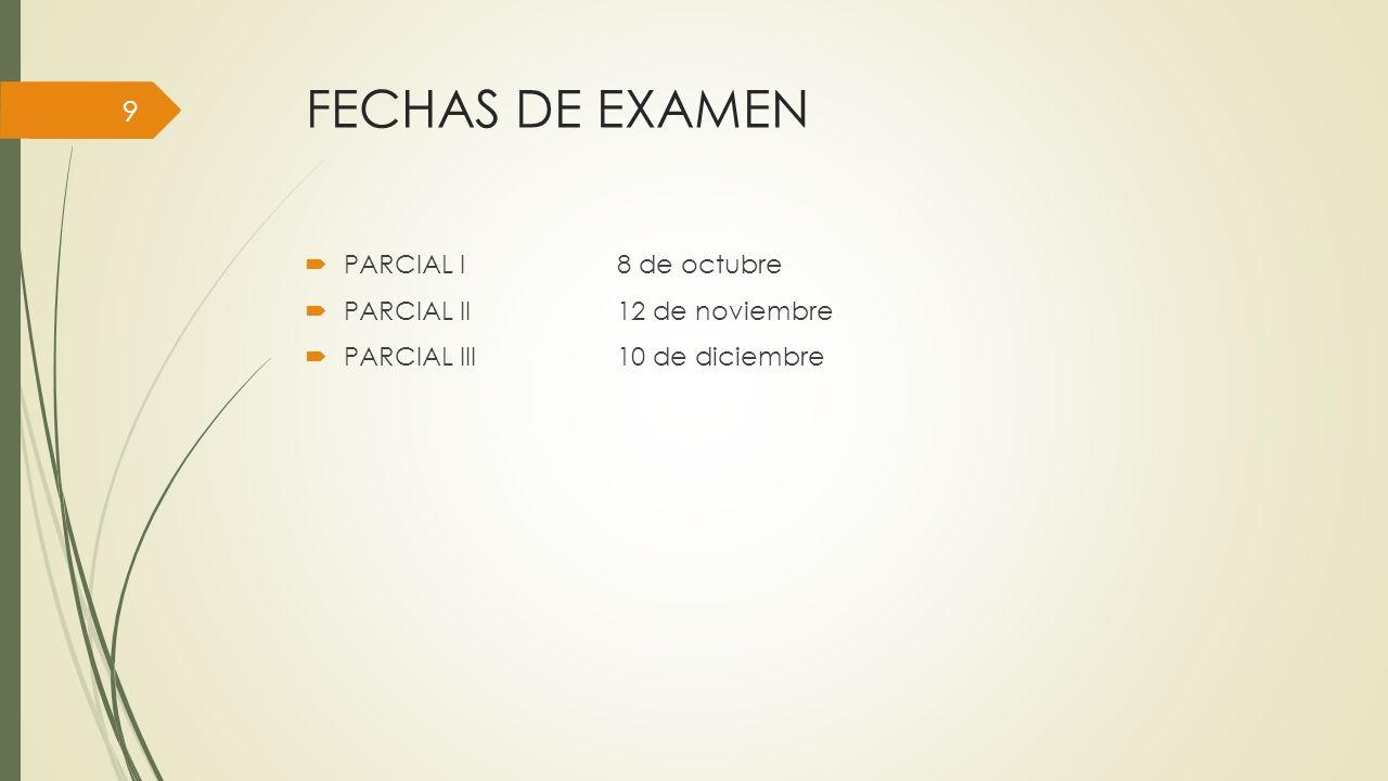 FECHAS DE EXAMEN PARCIAL I 8 de octubre PARCIAL II 12 de noviembre