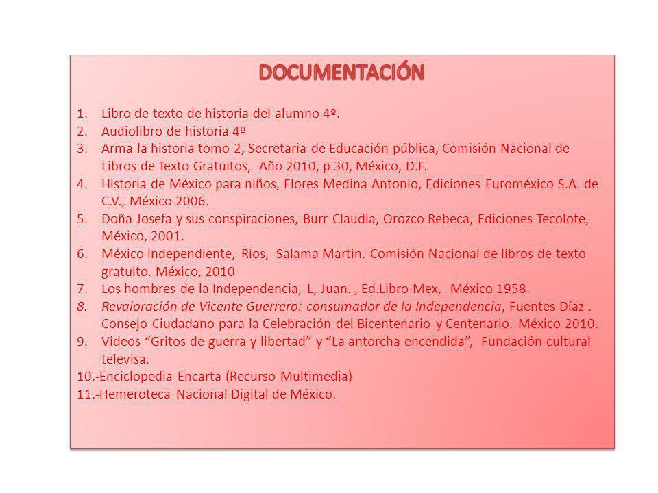 DOCUMENTACIÓN Libro de texto de historia del alumno 4º.