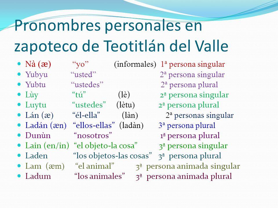 Pronombres personales en zapoteco de Teotitlán del Valle