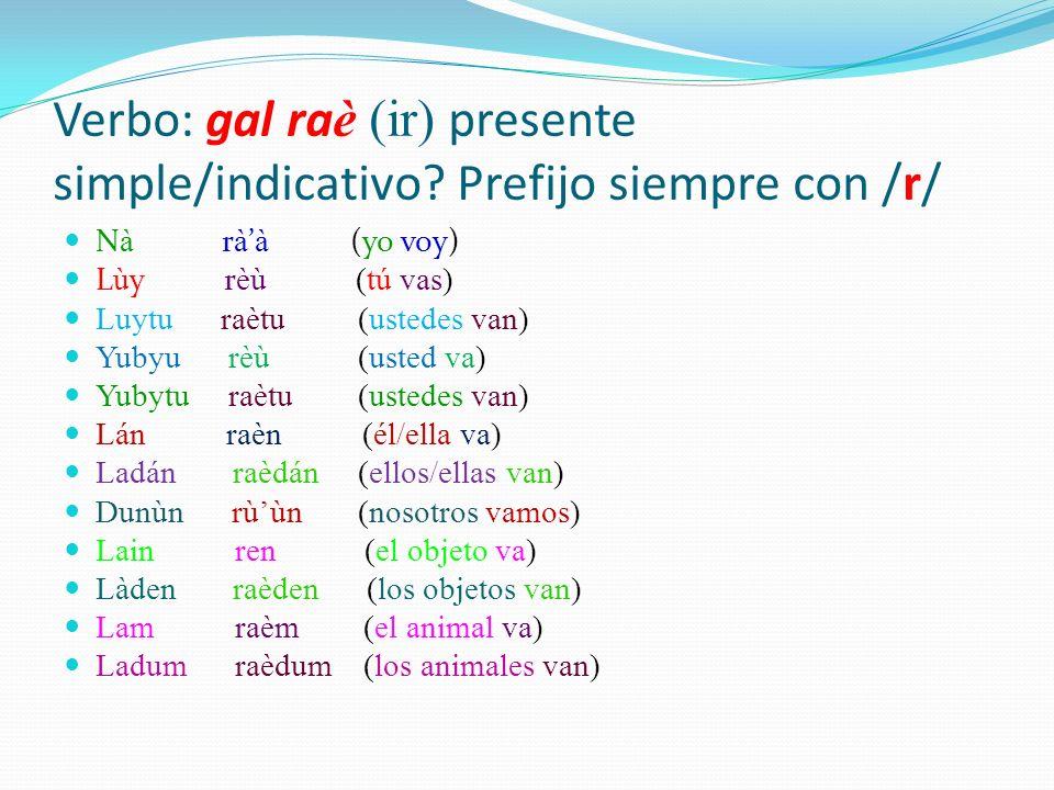 Verbo: gal raè (ir) presente simple/indicativo Prefijo siempre con /r/