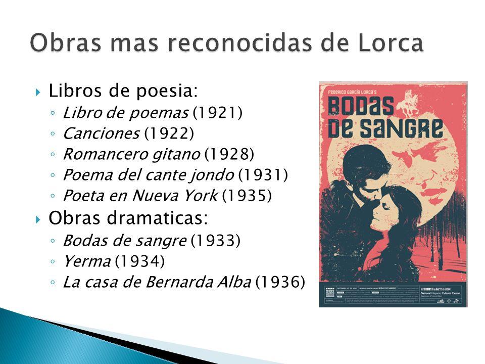 Obras mas reconocidas de Lorca