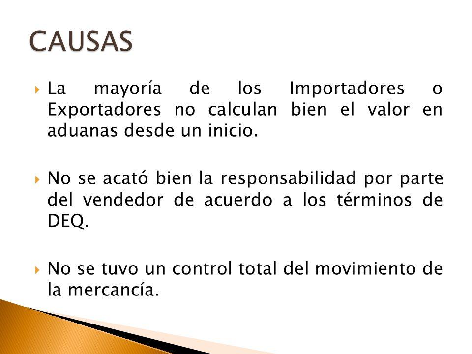 CAUSAS La mayoría de los Importadores o Exportadores no calculan bien el valor en aduanas desde un inicio.