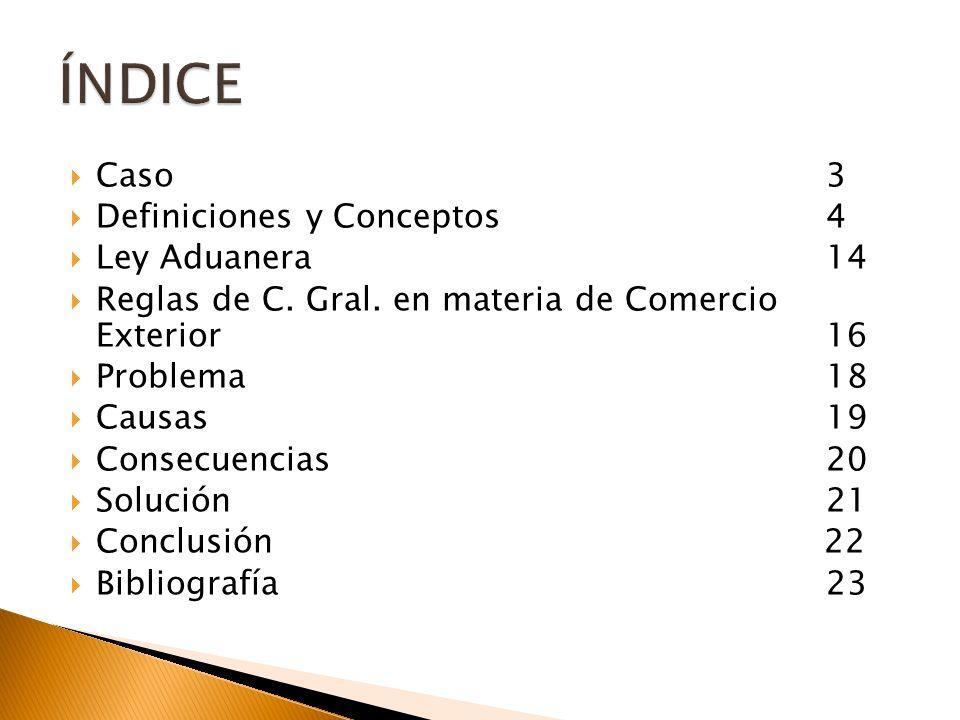 ÍNDICE Caso 3 Definiciones y Conceptos 4 Ley Aduanera 14