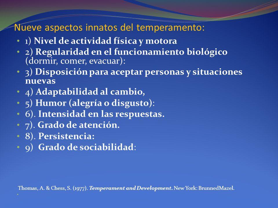 Nueve aspectos innatos del temperamento: