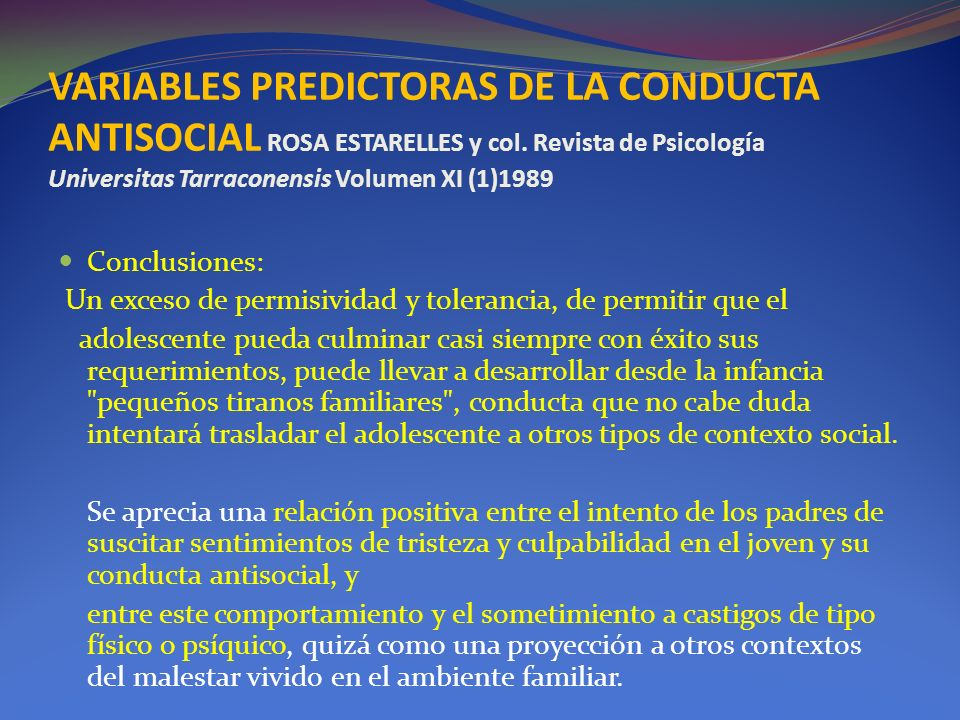 VARIABLES PREDICTORAS DE LA CONDUCTA ANTISOCIAL ROSA ESTARELLES y col