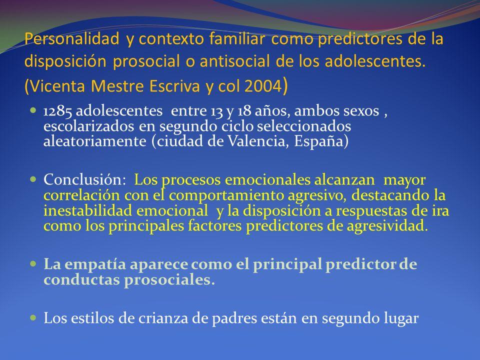 Personalidad y contexto familiar como predictores de la disposición prosocial o antisocial de los adolescentes. (Vicenta Mestre Escriva y col 2004)