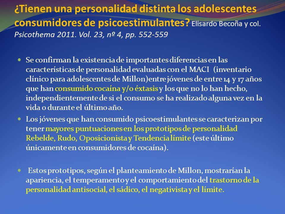 ¿Tienen una personalidad distinta los adolescentes consumidores de psicoestimulantes Elisardo Becoña y col. Psicothema 2011. Vol. 23, nº 4, pp. 552-559
