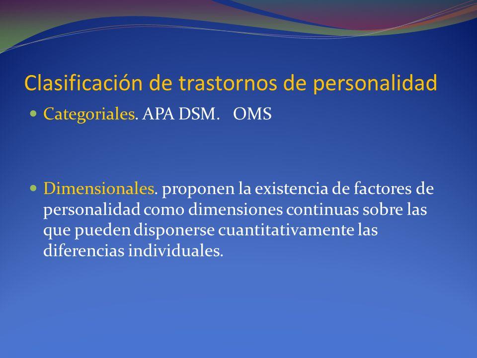 Clasificación de trastornos de personalidad