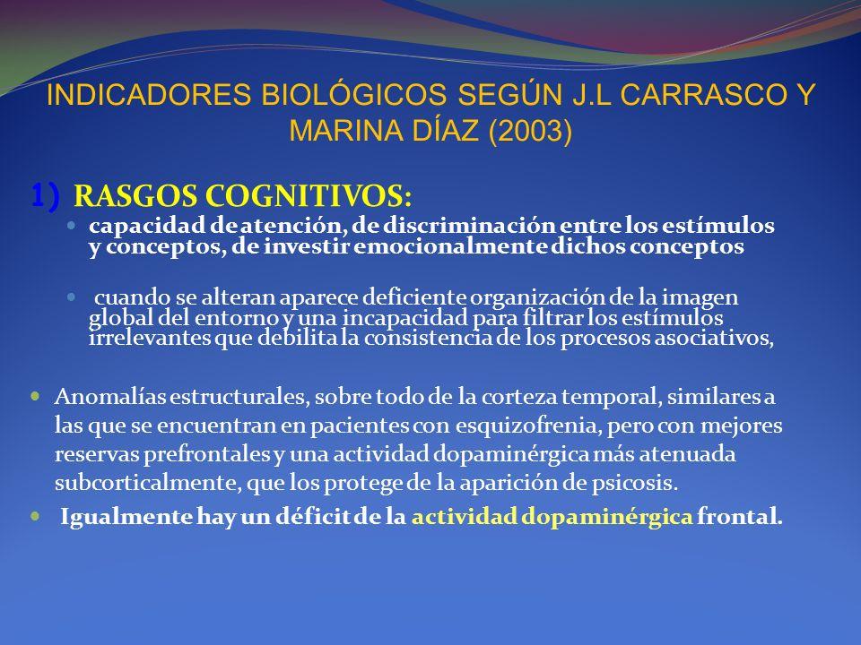 INDICADORES BIOLÓGICOS SEGÚN J.L CARRASCO Y MARINA DÍAZ (2003)