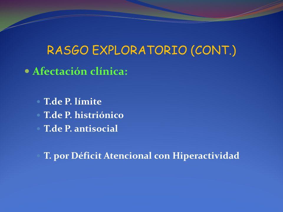 RASGO EXPLORATORIO (CONT.)