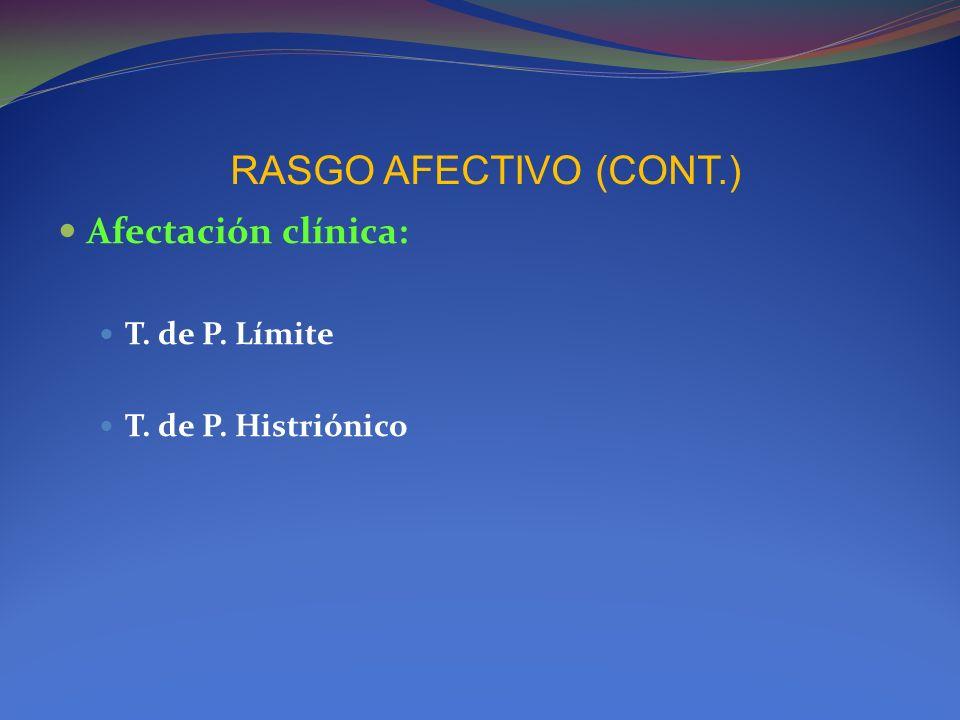 RASGO AFECTIVO (CONT.) Afectación clínica: T. de P. Límite