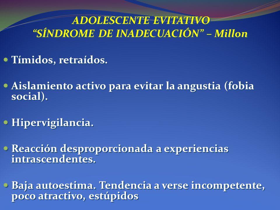 ADOLESCENTE EVITATIVO SÍNDROME DE INADECUACIÓN – Millon