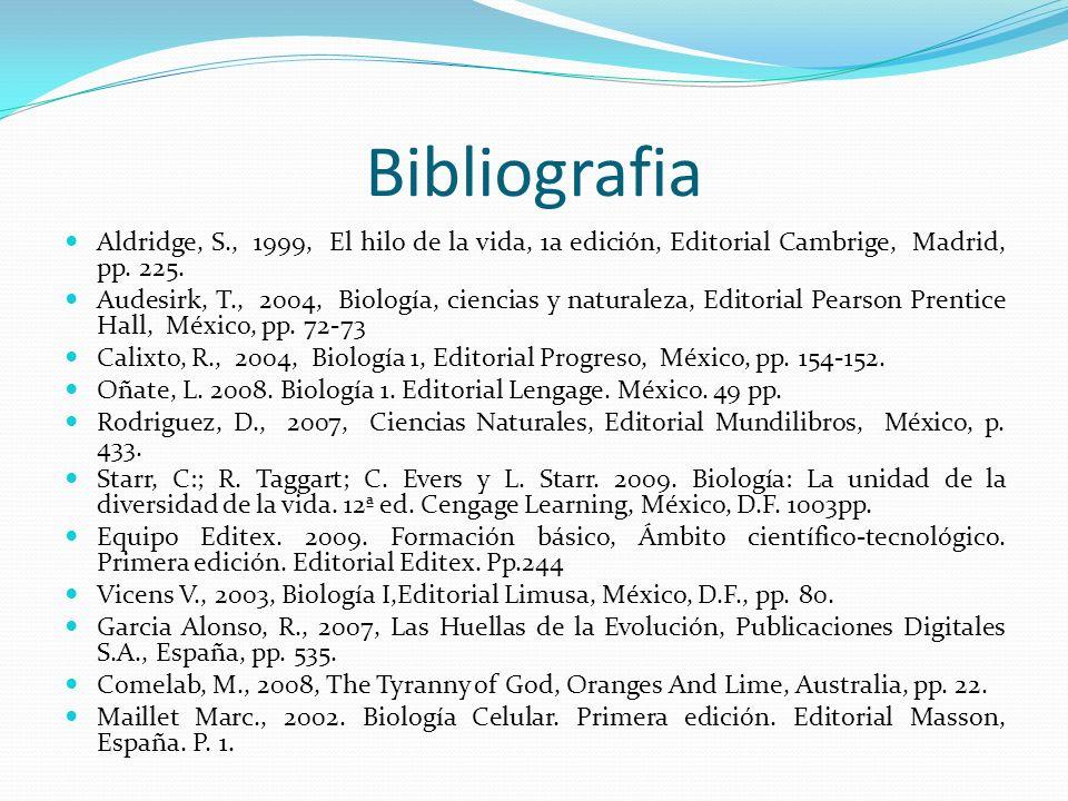 Bibliografia Aldridge, S., 1999, El hilo de la vida, 1a edición, Editorial Cambrige, Madrid, pp. 225.