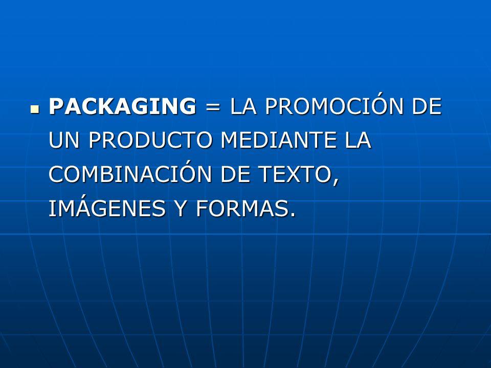 PACKAGING = LA PROMOCIÓN DE UN PRODUCTO MEDIANTE LA COMBINACIÓN DE TEXTO, IMÁGENES Y FORMAS.