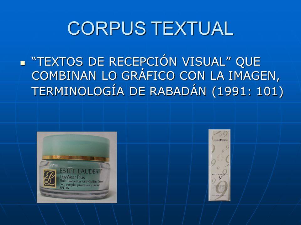 CORPUS TEXTUAL TEXTOS DE RECEPCIÓN VISUAL QUE COMBINAN LO GRÁFICO CON LA IMAGEN, TERMINOLOGÍA DE RABADÁN (1991: 101)
