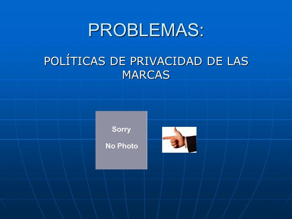 PROBLEMAS: POLÍTICAS DE PRIVACIDAD DE LAS MARCAS
