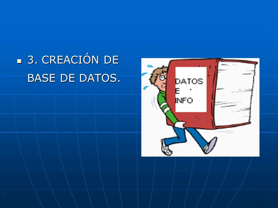 3. CREACIÓN DE BASE DE DATOS.