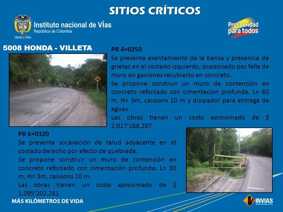 SITIOS CRÍTICOS 5008 HONDA - VILLETA PR 4+0250