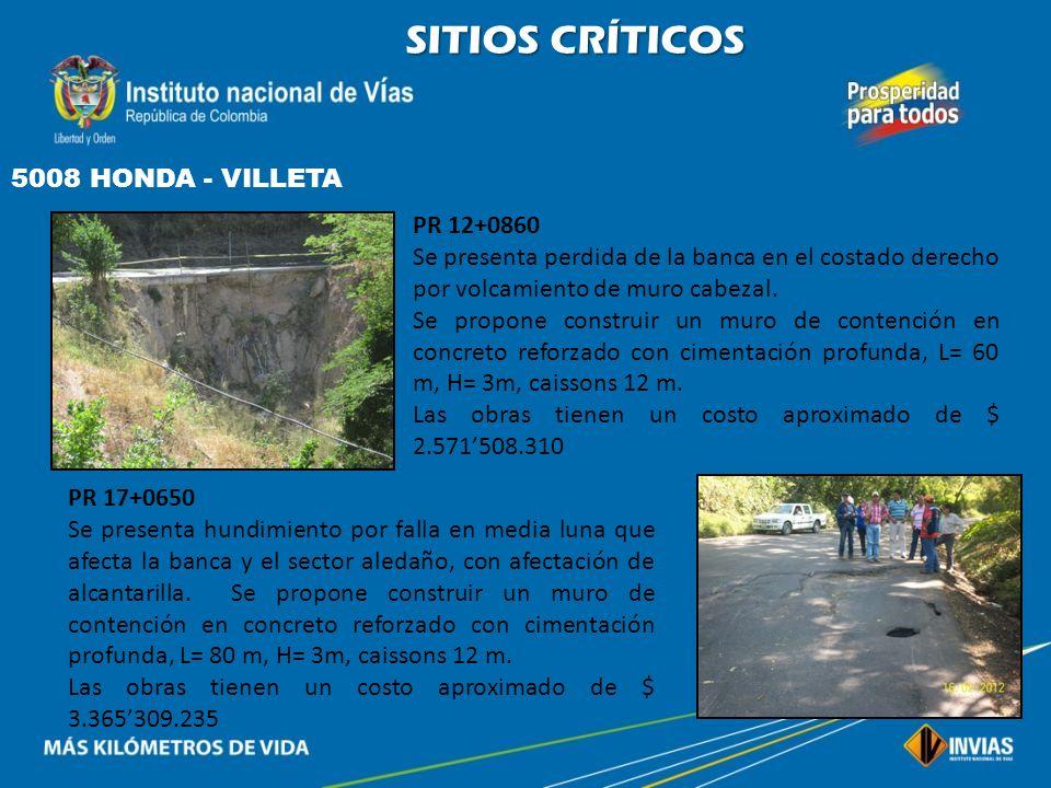 SITIOS CRÍTICOS 5008 HONDA - VILLETA PR 12+0860