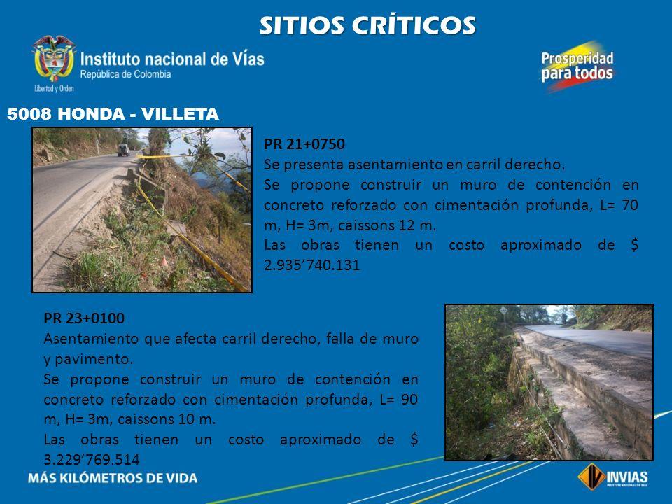 SITIOS CRÍTICOS 5008 HONDA - VILLETA PR 21+0750