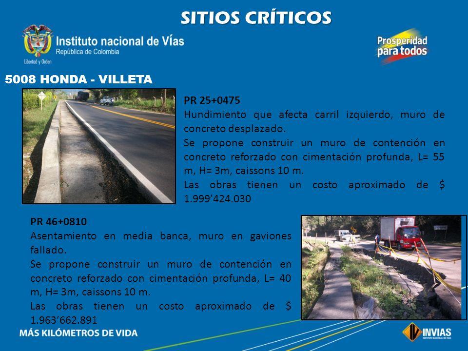 SITIOS CRÍTICOS 5008 HONDA - VILLETA PR 25+0475