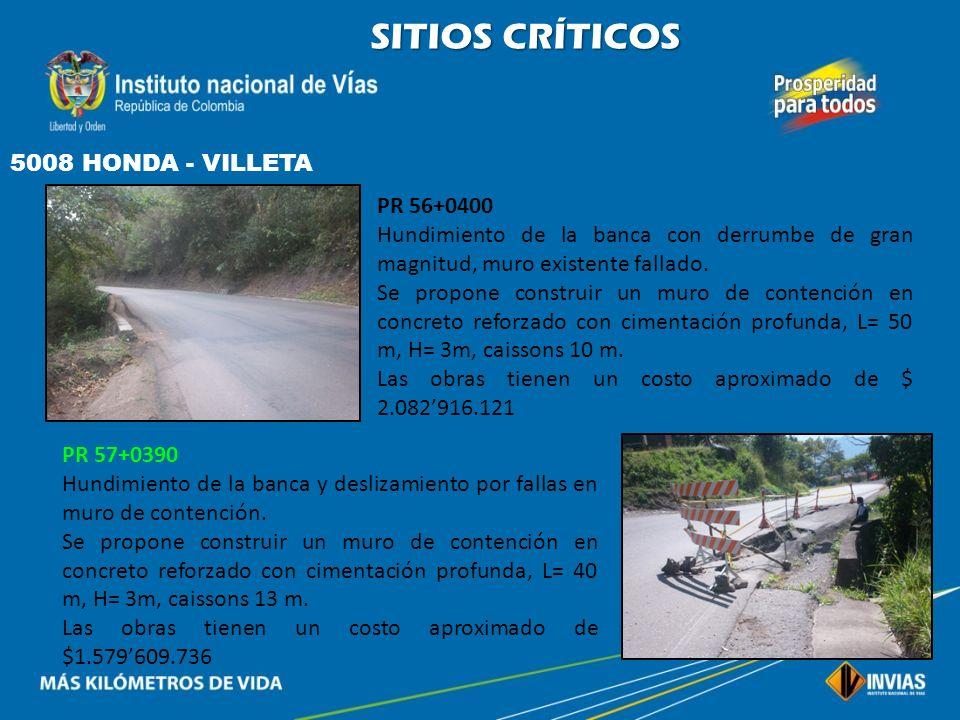 SITIOS CRÍTICOS 5008 HONDA - VILLETA PR 56+0400