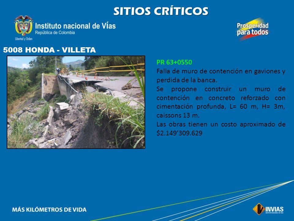 SITIOS CRÍTICOS 5008 HONDA - VILLETA PR 63+0550
