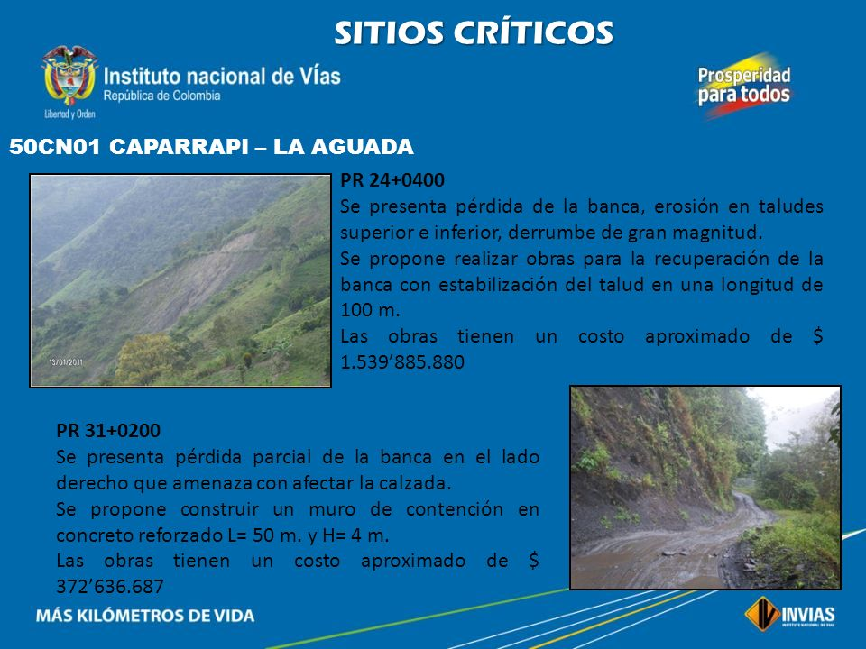 SITIOS CRÍTICOS 50CN01 CAPARRAPI – LA AGUADA PR 24+0400