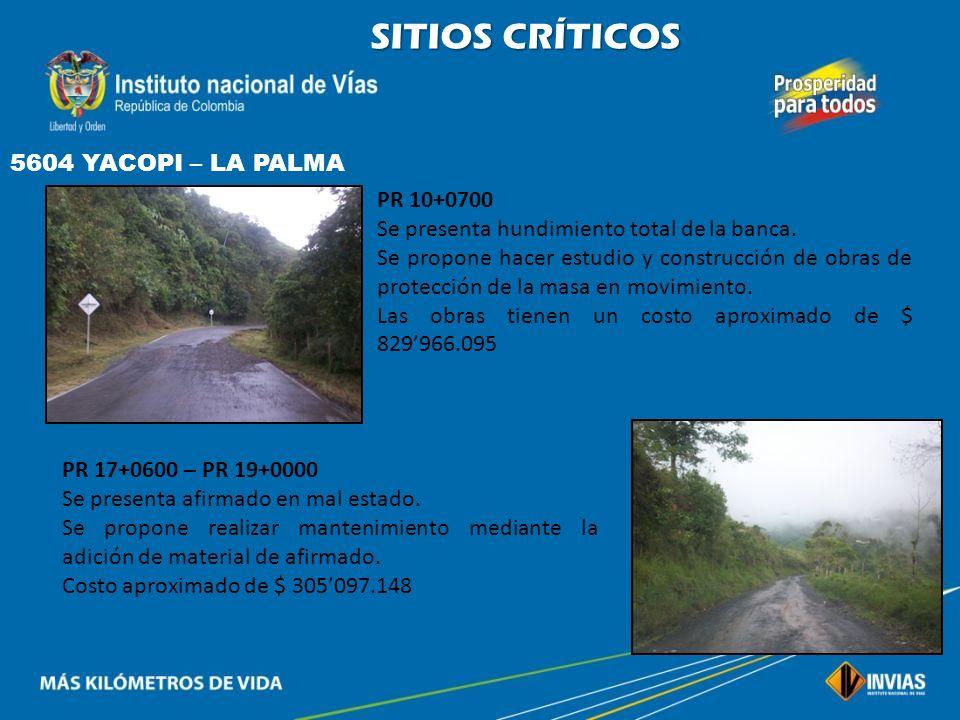 SITIOS CRÍTICOS 5604 YACOPI – LA PALMA PR 10+0700