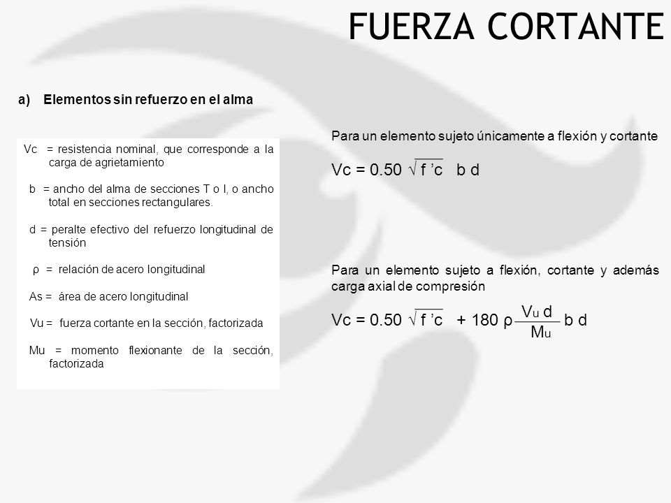 FUERZA CORTANTE Vc = 0.50 √ f 'c b d Vc = 0.50 √ f 'c + 180 ρ b d Vu d
