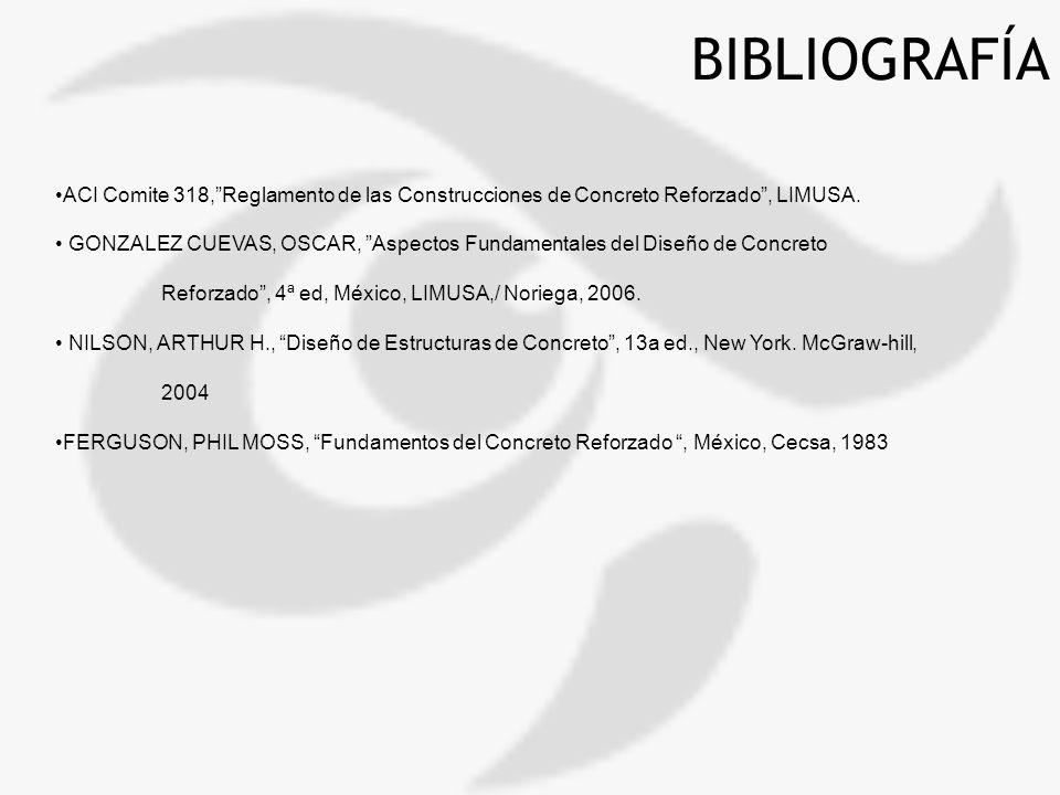 BIBLIOGRAFÍA ACI Comite 318, Reglamento de las Construcciones de Concreto Reforzado , LIMUSA.