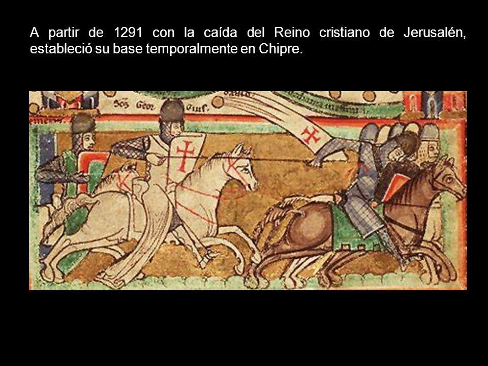 A partir de 1291 con la caída del Reino cristiano de Jerusalén, estableció su base temporalmente en Chipre.