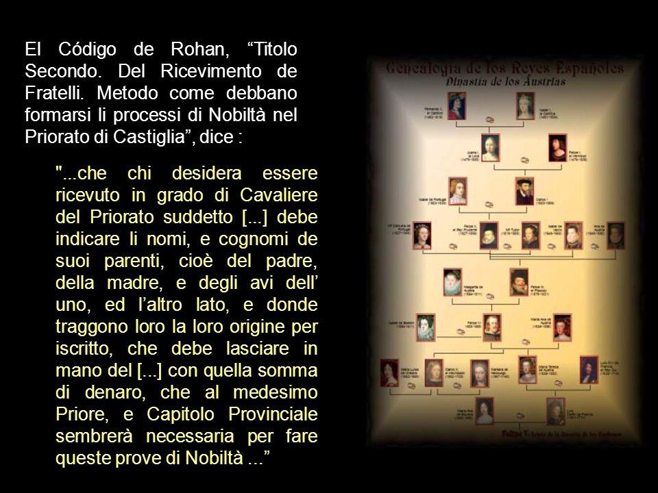 El Código de Rohan, Titolo Secondo. Del Ricevimento de Fratelli