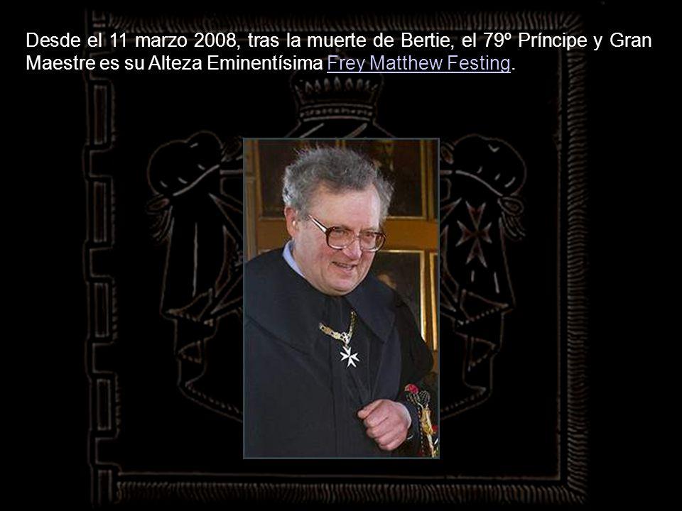 Desde el 11 marzo 2008, tras la muerte de Bertie, el 79º Príncipe y Gran Maestre es su Alteza Eminentísima Frey Matthew Festing.
