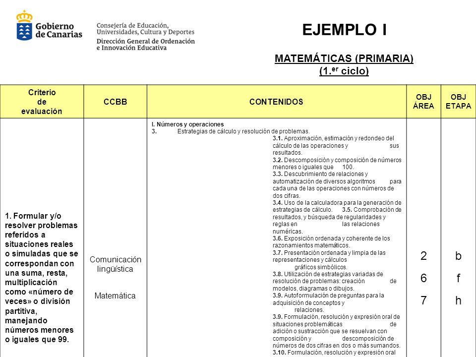 EJEMPLO I 2 6 7 b f h MATEMÁTICAS (PRIMARIA) (1.er ciclo) Criterio de